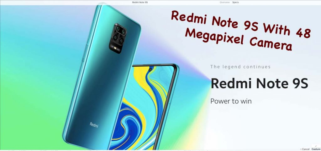 Redmi Note 9S With 48 Megapixel Camera